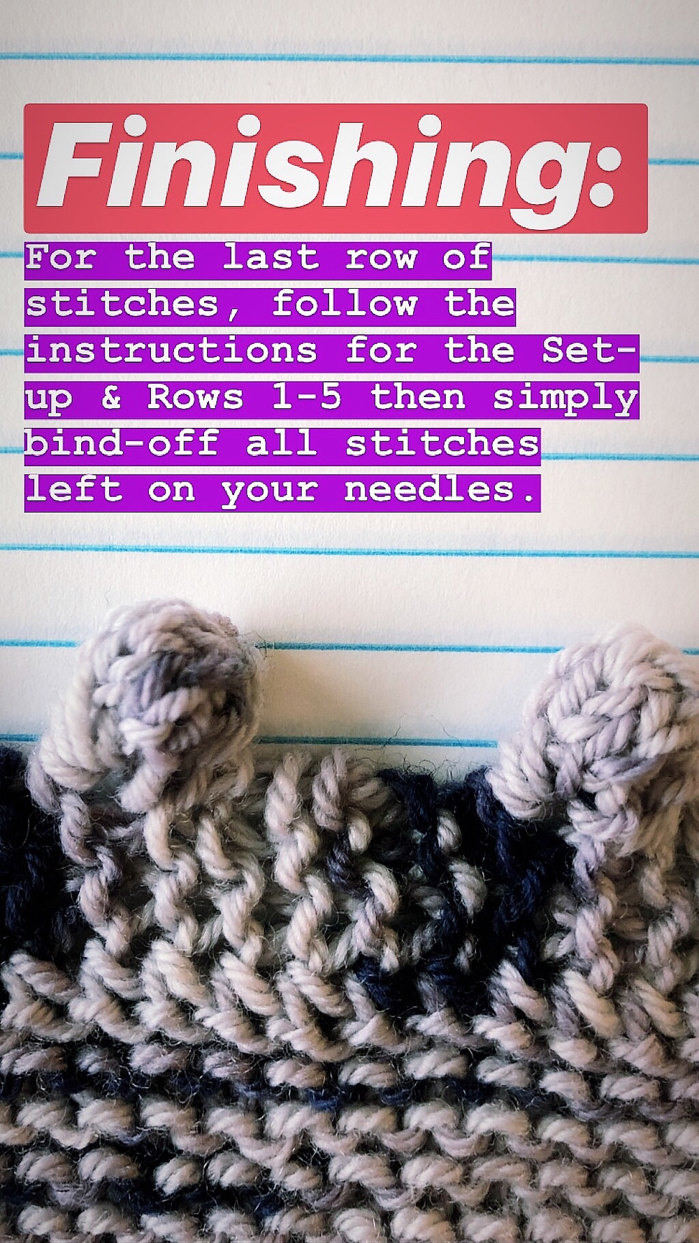 Step by Step Bobble Bind Off Knitting Tutorial Finishing Instructions