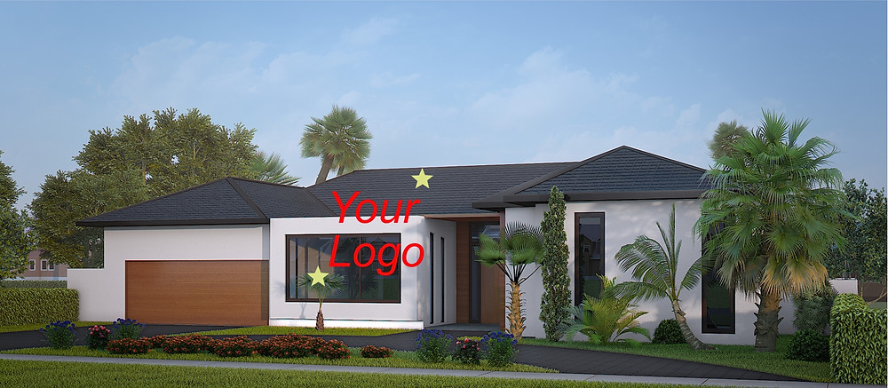 Exterior 3d renderings with the color logotype