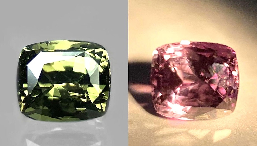 cushion shape natural alexandrite showing colour change from yellowish green in daylight to purplish red in warm light next to each other