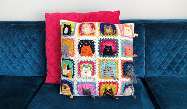 Two cushions centred on on a blue velvet couch; the back one is hot pink, the front one is crocheted cat squares.