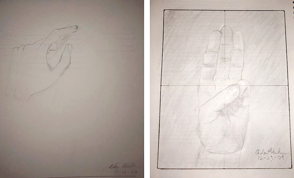 Practice and knowledge improved hand drawing from rudimentary look to more realistic look.