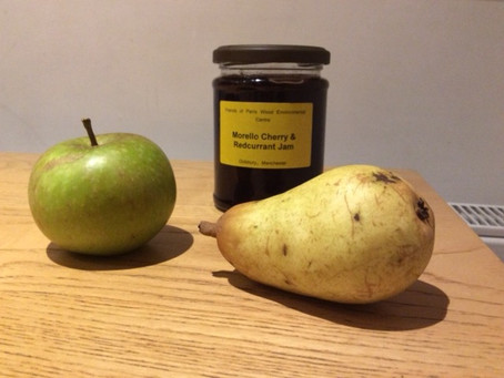 Still Life  Harvest time at Parr's Wood: Cox's Orange Pippin, Doyenne de Comice and delicious jam.
