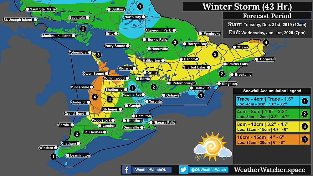 Snowfall Forecast, for Southern Ontario. Issued December 31st, 2019.