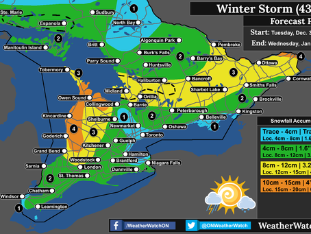 Widespread Snow and Lake Effect Snow to Impact Southern Ontario