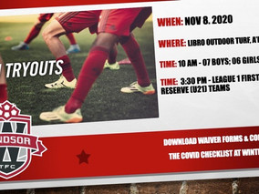 Tryouts for L1 First & Reserve Teams and L3 06 Girls & 07 Boys