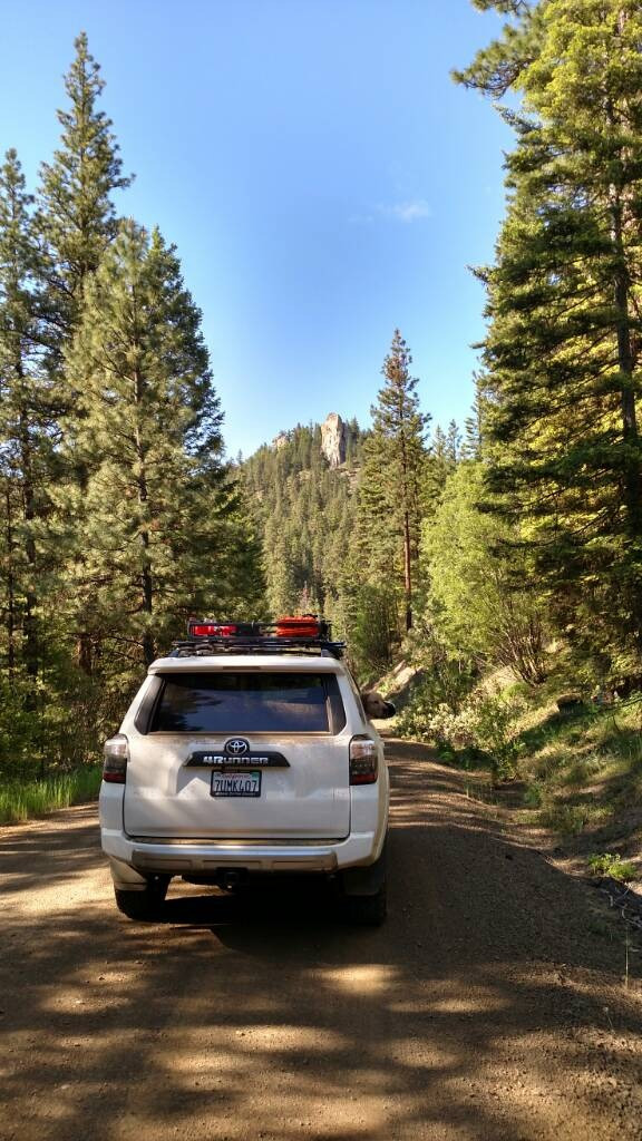 Traveling along the fire road 9718 in Okanogan-Wenatchee National Forest.