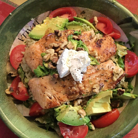 Salmon Salad with Warm Quinoa & Goat Cheese