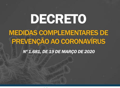 Prefeito Clauro Carvalho assina decreto com medidas complementares de prevenção ao Coronavírus.