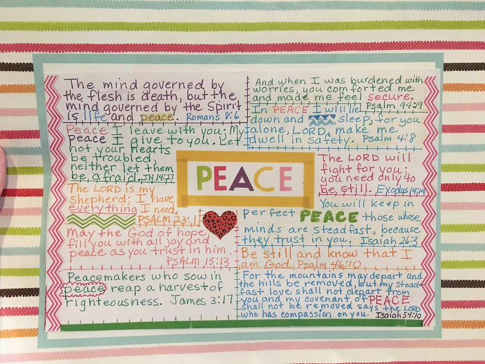 Sample Bible Quilt page on PEACE