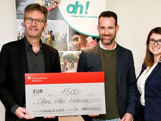 Wohnen klappt mit Unterstützung! DH Immoconsult spendet and die Offenen Hilfen Heilbronn.