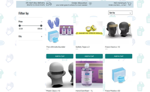 A screenshot of the Hope Revolution PPE store page, showing items available to purchase