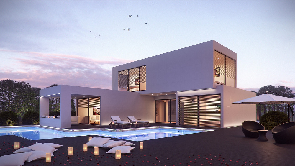 Contemporary villa - designer villa with pool