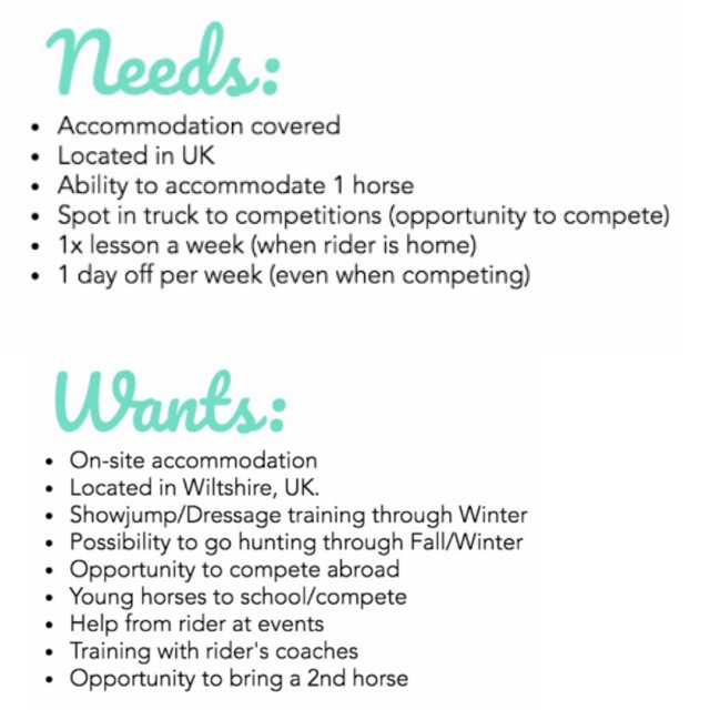 Working Student Pupil Equestrian Life List