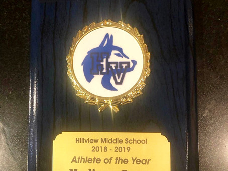 Congratulations Maddie...Hillview M.S. Athlete of the Year!