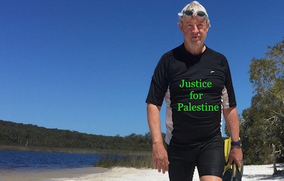 """A full body shot of a man standing on a beach wearing snorkelling gear. The image is overlaid with the text """"Justice for Palestine""""."""