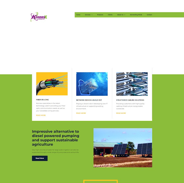 Screenshot of Konnexx's home page before Adtelligent redid it