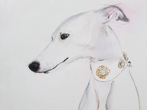 White Beauty - Windhund gemalt