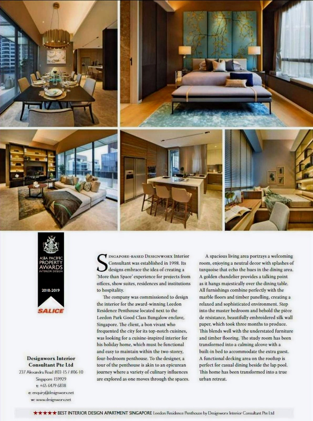 Asia Pacific Property Awards - Best Interior Design Apartment - Leedon Residence Penthouse - Designworx Interior Consultant