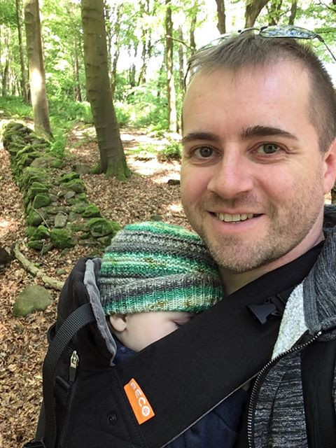 Father and Son in woods