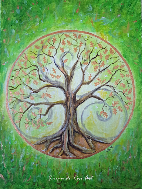Tree of life - Green Oak tree by Jacqui de rose art