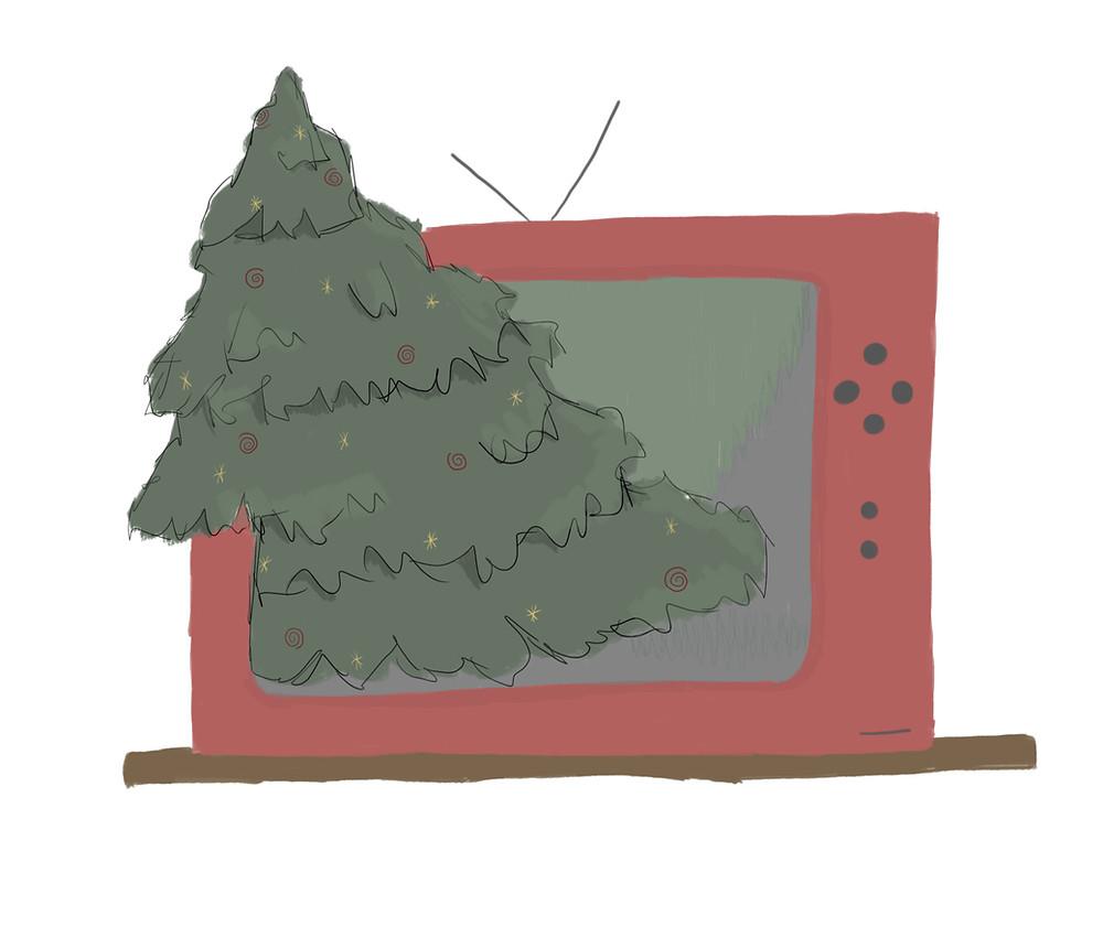 Fernseher mit Tannenbaum darin