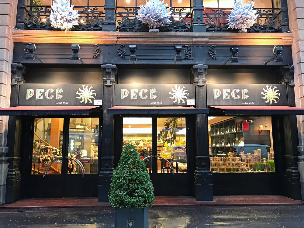 Outside the entrance to Peck, historical deli in Milan Italy