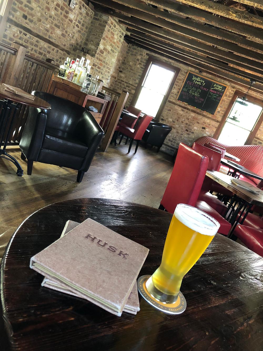 Afternoon pint at The Bar at Husk in Charleston, SC