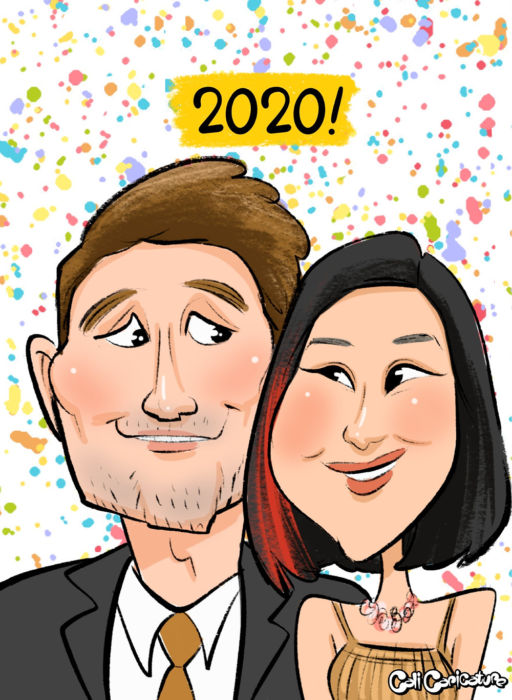engagement proposal caricature romantic love hearts couple cute couples confetti celebrate marriage caricatures art cartoon faces portrait engaged