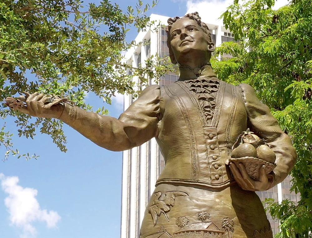 Daub and Firmin sculpture of Julia Tuttle, the mother of Miami, located in Bayfront Park in Downtown Miami