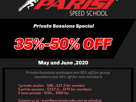 Private Sessions Discounts for May and June