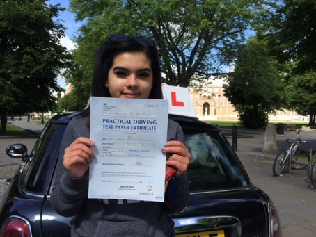 Congratulations Shakira for passing your driving test First Time with only a few minor faults.