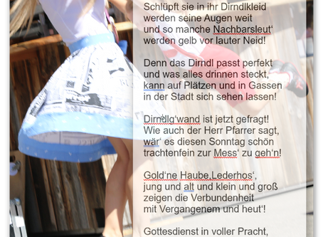 Der Stadtdichter lässt's Dirndlg'wand fliegen: Dirndlg'wandsonntag