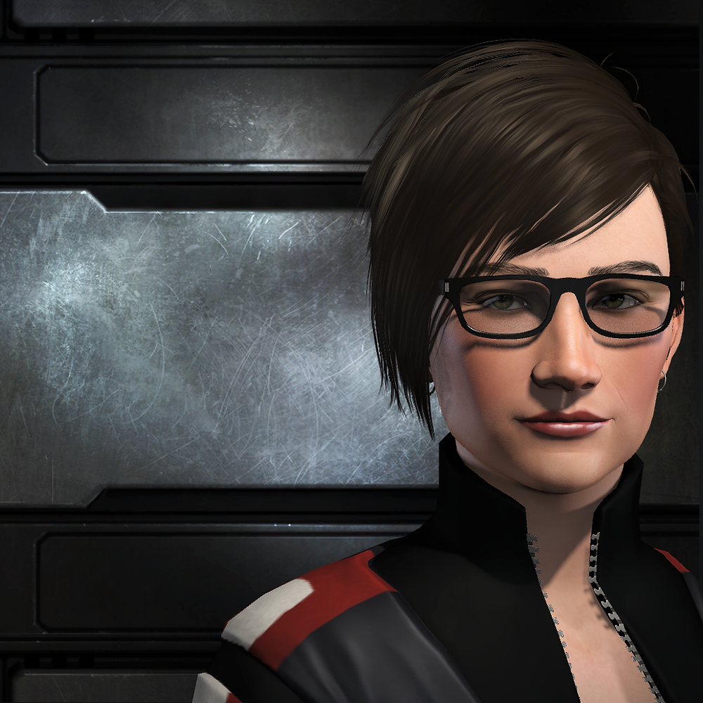 A computer generated image of a dark haired woman with glasses, created using the character creator in EVE Online.