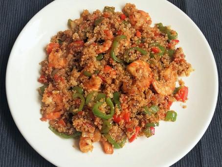 Quinoa con verduras y langostinos