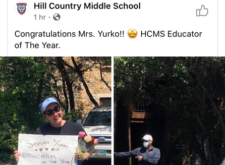 Sarah Yurko Educator of the Year-Hill Country Middle School
