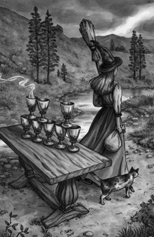Eight Of Cups / Everyday Witch Tarot / Deborah Blake, artwork by Elisabeth Alba