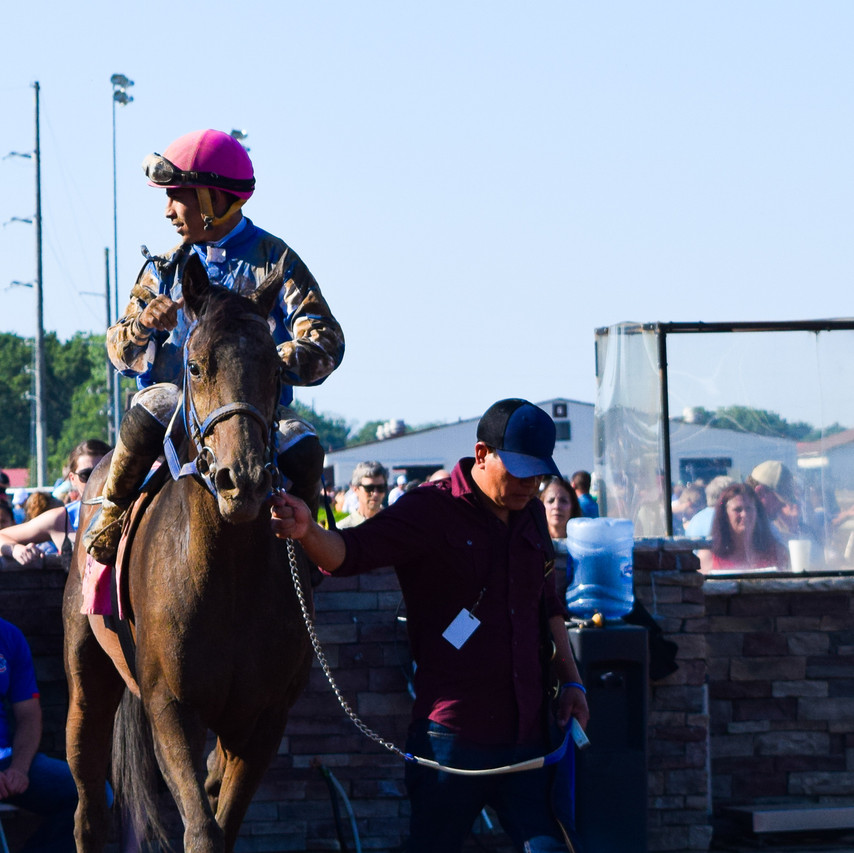 Frosted Justice in the winners' circle at Indiana Grand Racing & Casino in Shelbyville, IN.
