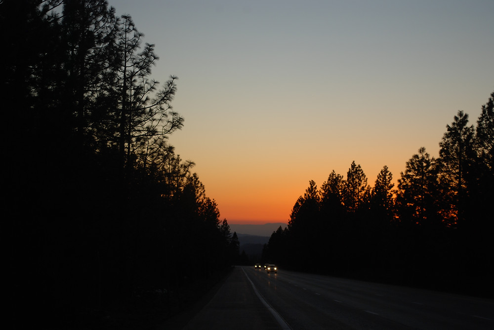 A sunset in a mountainous area with pine trees along both sides of a highway. Car lights can be seen in the distance.