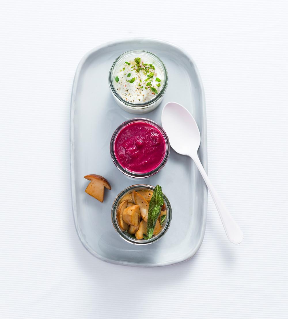 Burokėlių sriuba, svieste kepti baravykai, grietinės padažas, Alfo receptai