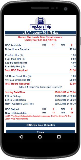 Hours of Service ETA Calculator