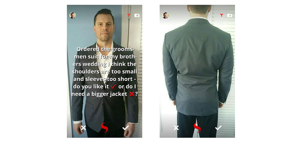 Groomsman using STYL to ask for outfit advice if a suit fits for a wedding