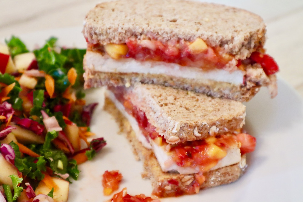 Summer Fruit Salsa Sandwich and Kale Slaw