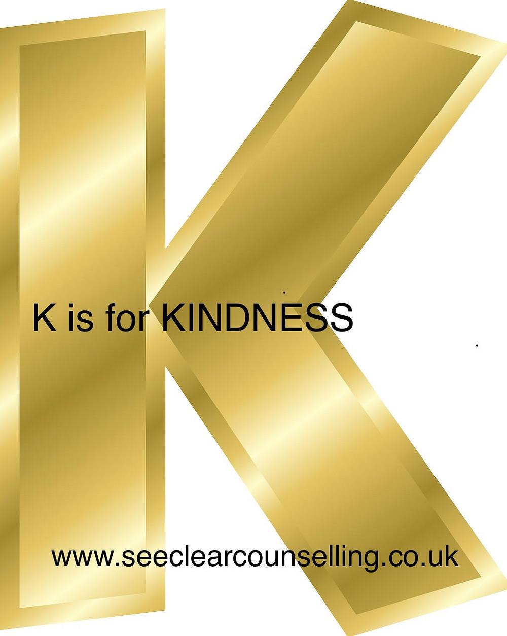 Gold letter K for Kindness