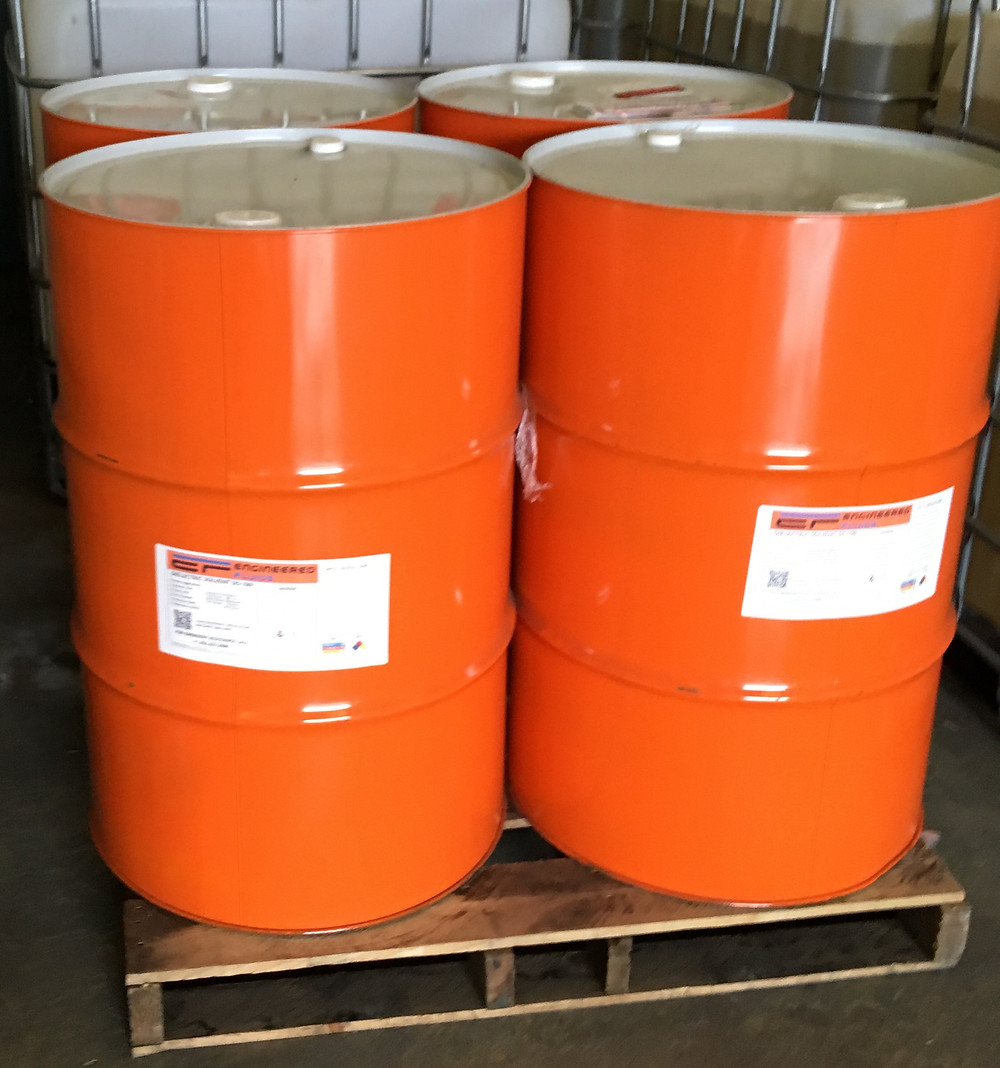 Orange Drums of Engineered Fluids Dielectric Solvent DS-100