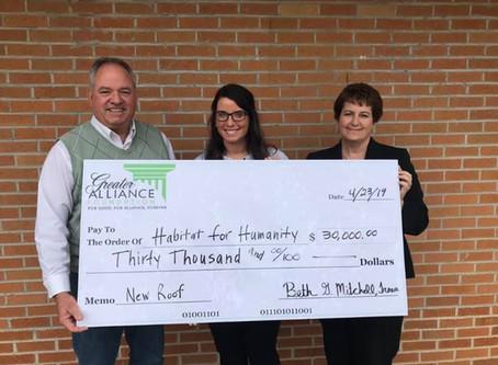 Greater Alliance Foundation Contributes $30,000 to New Alliance Habitat Headquarters