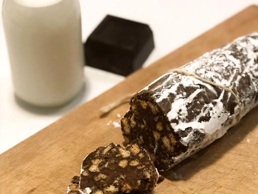 Salame al cioccolato senza burro e senza uova