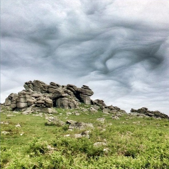 I took this photo on one of my solo dog walks, the clouds were swirling and undulating.