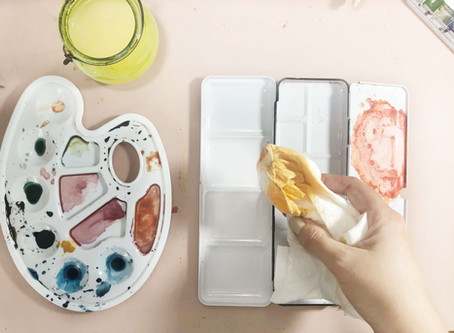 How to Clean Your Art Work Area & Supplies