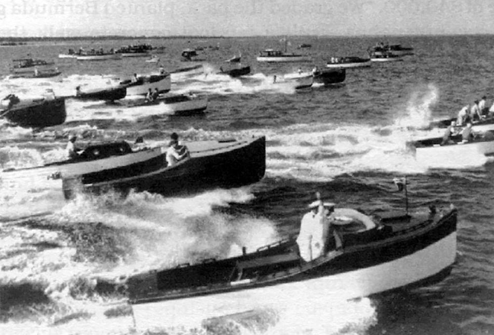 Black and white photo showing the 1921 Miami Regatta on Miami's Biscayne Bay. The regatta was organized by Carl Fisher, the Father of Miami Beach.