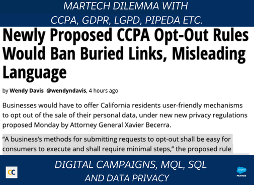 Martech dilemma with CCPA, GDPR, LGPD, PIPEDA etc.